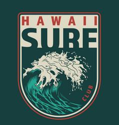 vintage hawaii surfing colorful label vector image