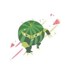 Watermelon fruit hero superhero character guard vector