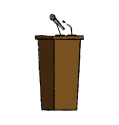 Wooden podium tribune speak microphone element vector