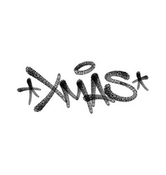 xmas lettering hand drawn typography card black vector image