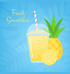 yellow vitamin natural pineapple smoothie banner vector image