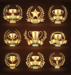 golden winner trophy cups prize sports awards vector image