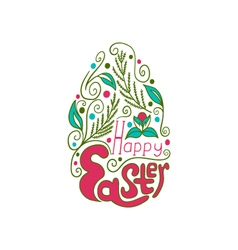Greeting card with doodle easter egg color vector image vector image