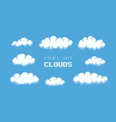 pixel art clouds vector image vector image