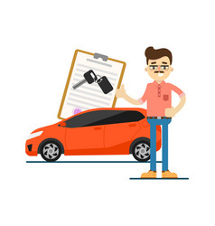rent car business concept with smiling dealer vector image vector image