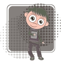 boy with notebook vector image