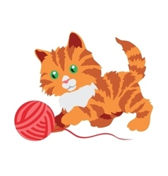 Cute orange kitten playing with a clew isolated on vector image