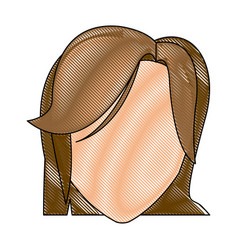 Drawing head female hairstyle modern vector