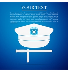 Police cap and baton flat icon on blue background vector image