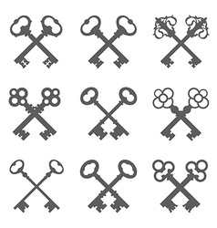 Set of crossed keys silhouettes vector image vector image