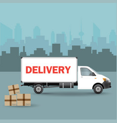 white delivery van with shadow and cardboard vector image