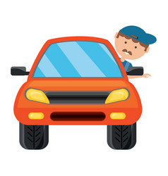 cartoon mechanic and car icon vector image