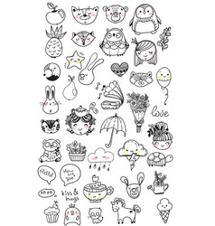 collection of children doodles vector image