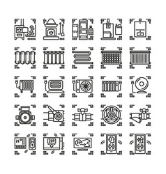 house heating system line icons or symbols vector image vector image