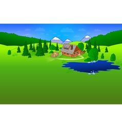 Hut in forrest scene vector