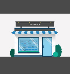 pharmacy drugstore design with drug shelves and vector image