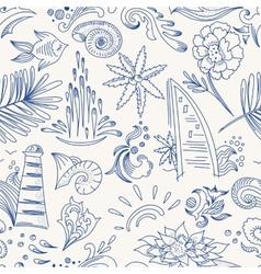 Sketch sea travel pattern vector image vector image