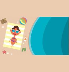 summer beach girl vector image vector image