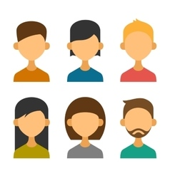 User Avatar Icons Set in Flat Design Style vector image