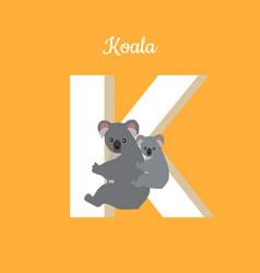 animals alphabet letter - k vector image