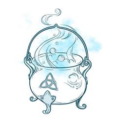 blue boiling magic cauldron vector image