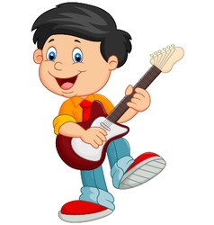 Cartoon child play guitar vector image vector image