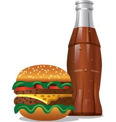 cola and hamburger vector image vector image