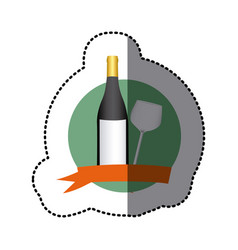 emblem wine bottle and glass icon vector image