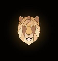 geometric lion head design on black background vector image vector image