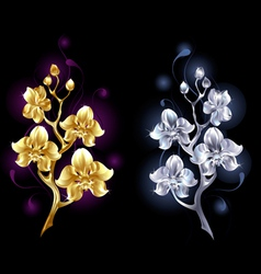 gold and silver orchid vector image vector image