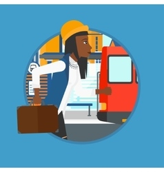 Latecomer woman running for the bus vector image vector image
