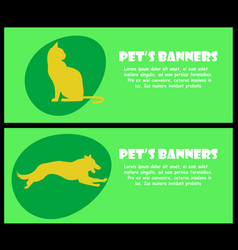two banners with cat and dog silhouette vector image