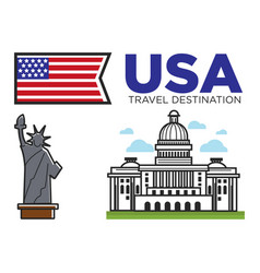 usa america travel landmarks and american culture vector image vector image