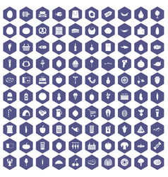 100 grocery shopping icons hexagon purple vector