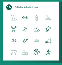 16 athletic icons vector