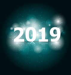 2019 happy new year on green background vector image