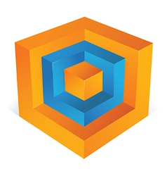 3D cube as web design element vector image