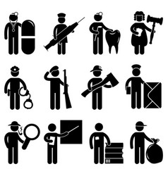 a set of construction worker job and occupation vector image