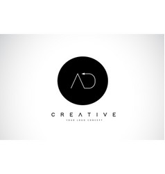 ad a d logo design with black and white creative vector image