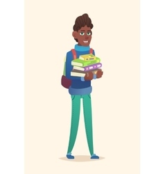 African school boy stack of books vector image