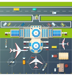 Airport Parking Top View Flat Image vector