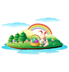 An island with a bunny and a basket of easter eggs vector image vector image