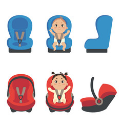 Baby girl and boy sitting in automobile seat vector