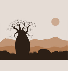 Baobab tree landscape with mountains background vector