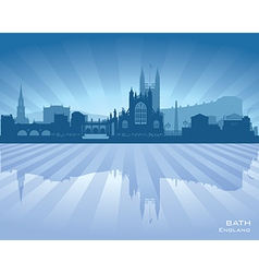 Bath England skyline with reflection in water vector image