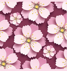 beautiful seamless pattern with pink cherry vector image