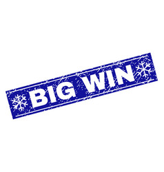 big win scratched rectangle stamp seal with vector image