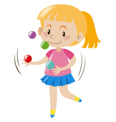 Blond girl juggling balls vector