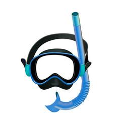 Blue diving mask diving tube swimming equipment vector