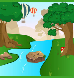 Blue river flowing across green forest vector